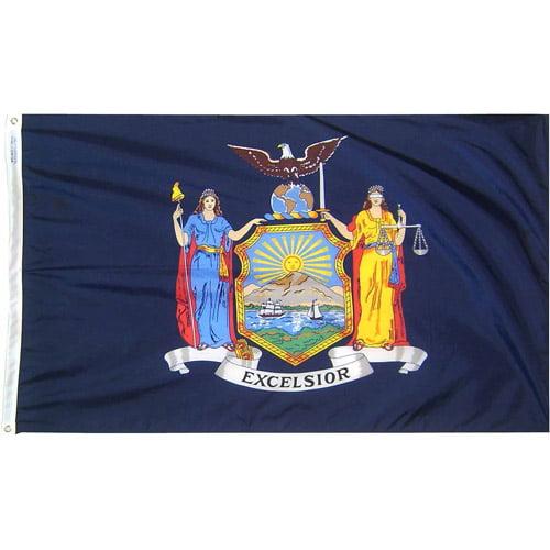 New York State Flag, 3' x 5', Nylon SolarGuard Nyl-Glo, Model# 143860