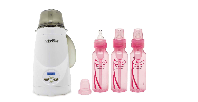 Dr. Brown's Standard Pink 8oz Bottles 3pk & Dr. Brown's Bottle Warmer by Dr. Brown%27s