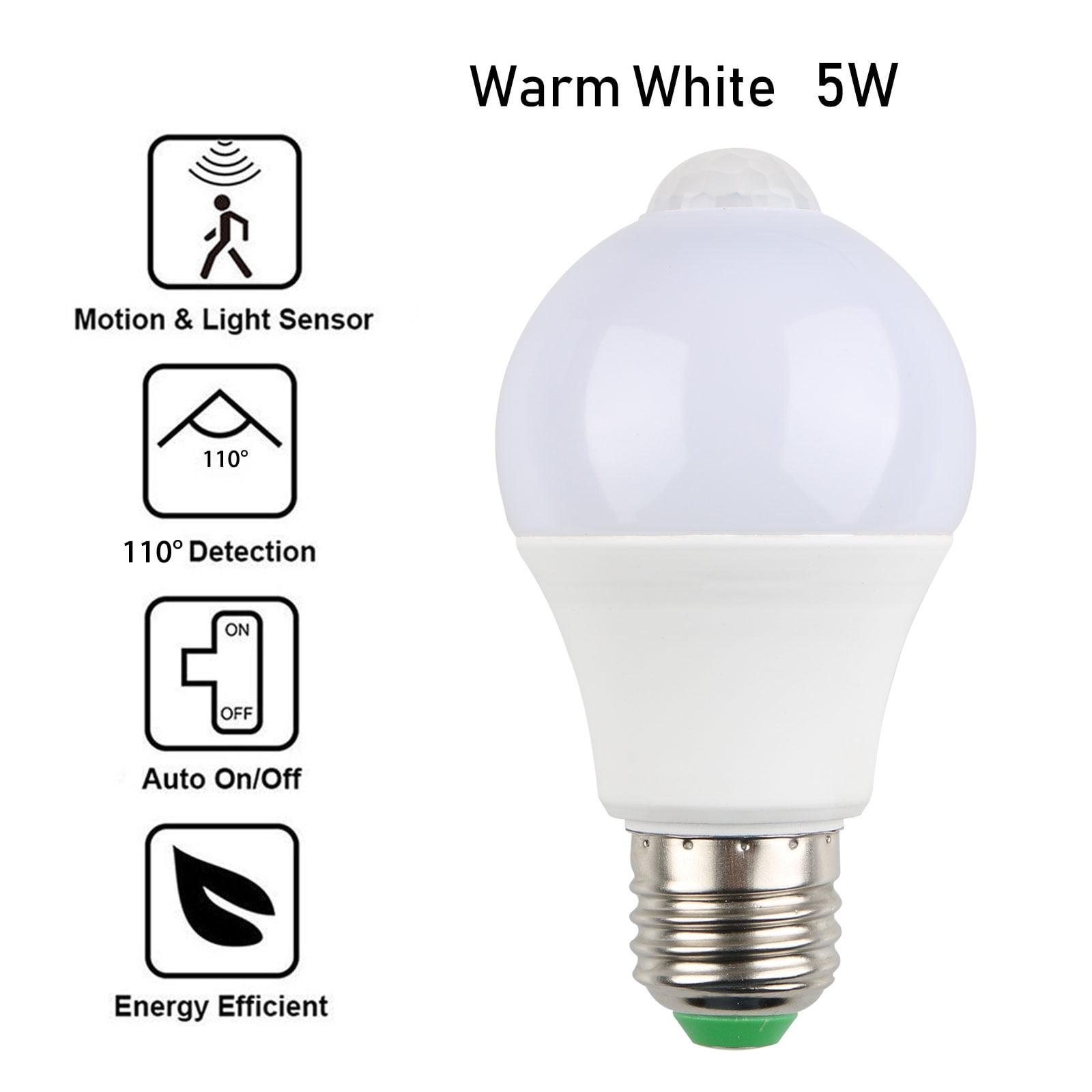 E27 Motion Sensor Light Bulbs, 5W/7W Motion Activated Dusk to Dawn on