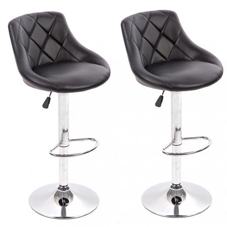 PU Leather Bar Stools Modern Swivel Dinning Kitchen Chair, Set Of (Leather Contemporary Bar Stools)