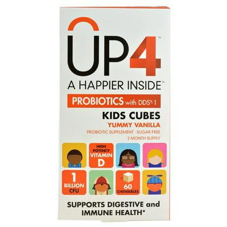 Up4 Probiotiques avec DDS-1 enfants cubes délicieux vanille 1 milliard UFC - 60 Chewables