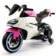 2017 Ducati Style Ride On Toy Motorcycle Car for Kids 12V Battery Powered Pink by
