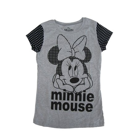 93472fe7c Disney - Disney Girls Grey Black Minnie Mouse Face Print Cotton T-Shirt -  Walmart.com