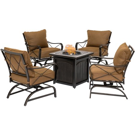 Hanover Summer Nights 5-Piece Fire Pit Chat Set in Desert Sunset with 4 Cross-Back Rockers and a 26-In. Square Fire Pit Table ()