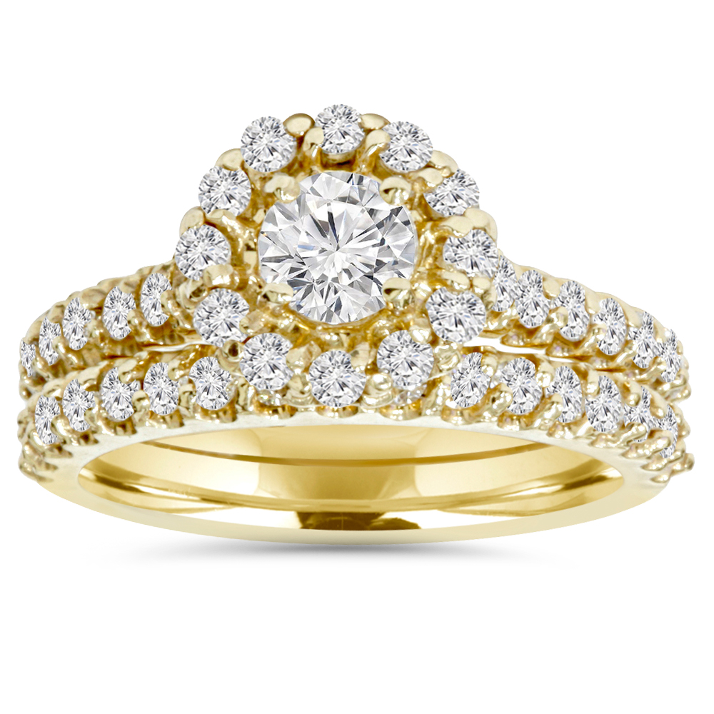 1 7/8ct Yellow & White Diamond Halo Engagement Ring Set 14K White Gold