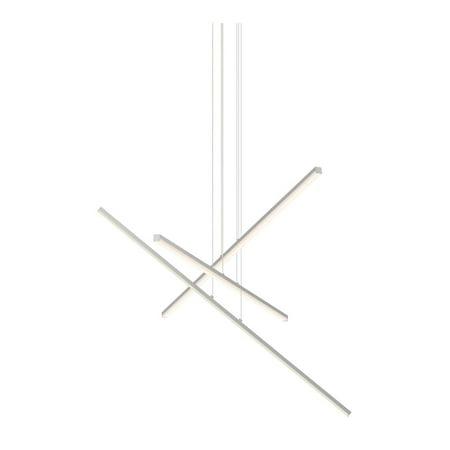 Sonneman Lighting  Stix LED Bright Satin Aluminum 3-Arm Pendant, Optical Acrylic Shade - Silver Bright Satin Aluminum Led