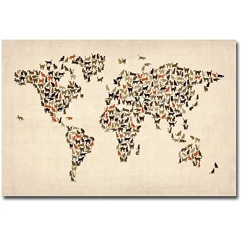 "Trademark Art ""World Map of Cats"" Canvas Art by Michael Tompsett"