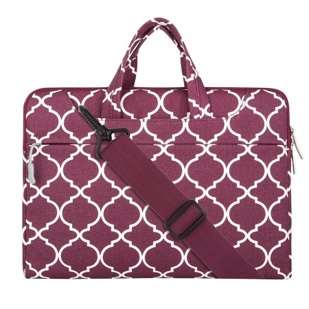 (Quatrefoil Style Canvas Fabric Laptop Sleeve Case Cover Bag with Shoulder Strap for 15-15.6 Inch MacBook Pro, Notebook Computer, Wine Red)