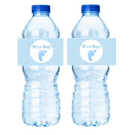 It's a Boy Houndstooth Baby Shower  15ct Water Bottle Labels / Stickers