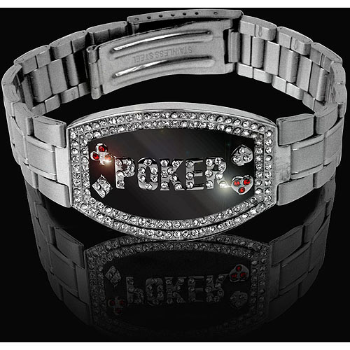 Trademark Poker Silver Elite Dark Poker Bracelet, 156 Crystals