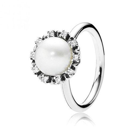 Pandora Everlasting Grace Stackable Ring, Pearl & Clear CZ 190916P-56
