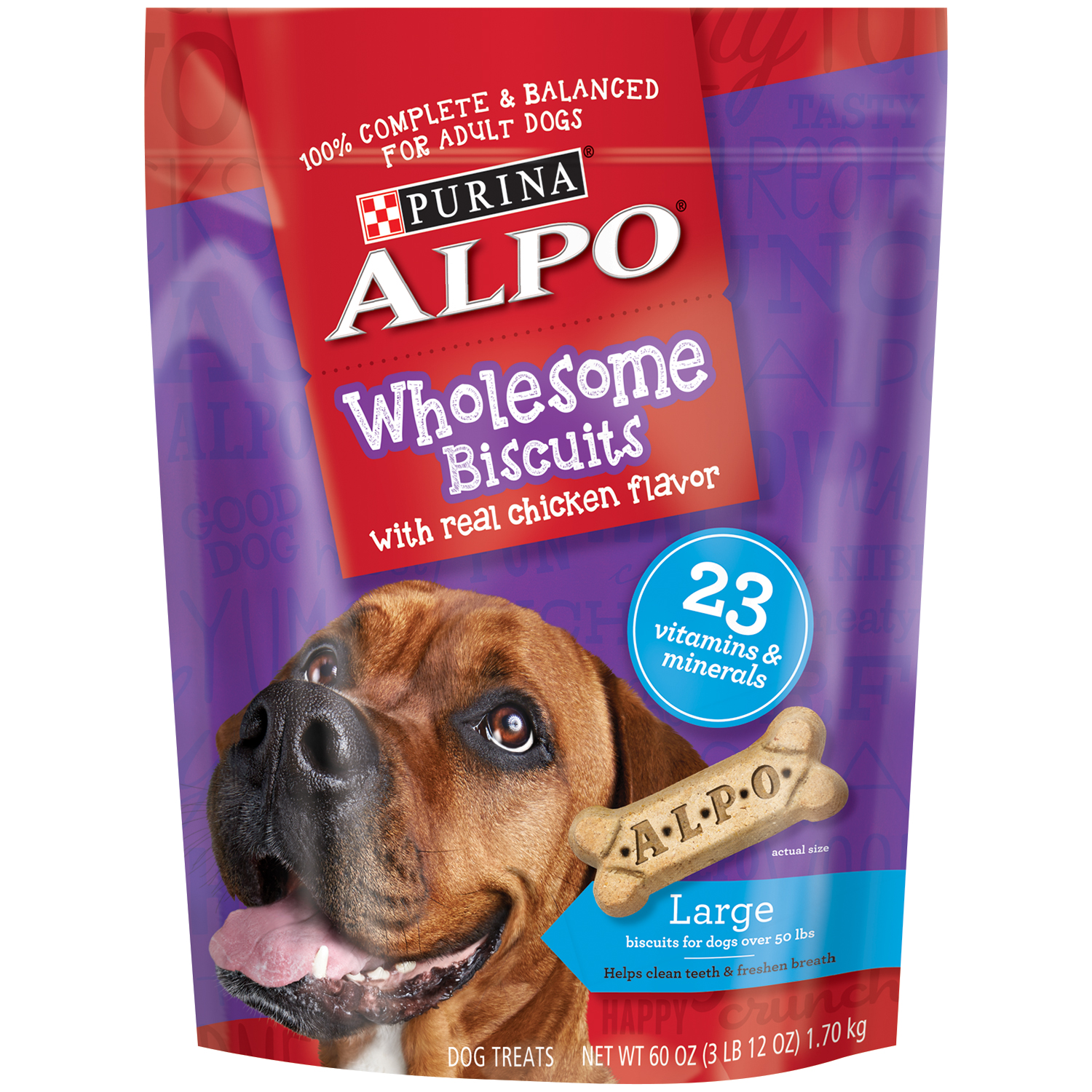 Purina ALPO Wholesome Biscuits Large Dog Treats with Real Chicken Flavor 60 oz. Pouch