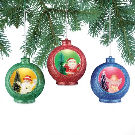 Color Changing Christmas Ornaments Set - Light Up Santa, Snowman and Angel, 3 - 3 Christmas Angel Ornament