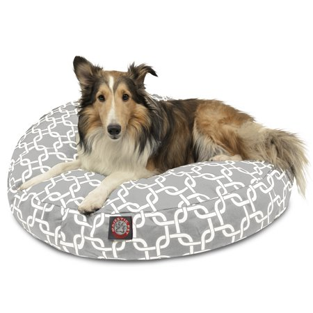 Majestic Pet Links Round Dog Bed Treated Polyester Removable Cover Gray Medium 36 x 36 x