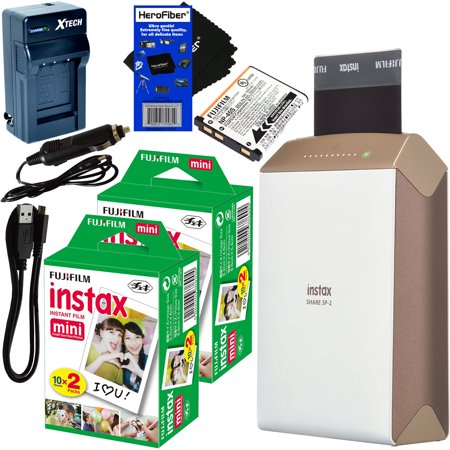 Fujifilm Instax Share Smartphone Printer Sp 2  Gold    Instax Mini Instant Film  40 Sheets    Rchrgbl  Battery   Ac Dc Charger   Herofiber  Gentle Cleaning Cloth
