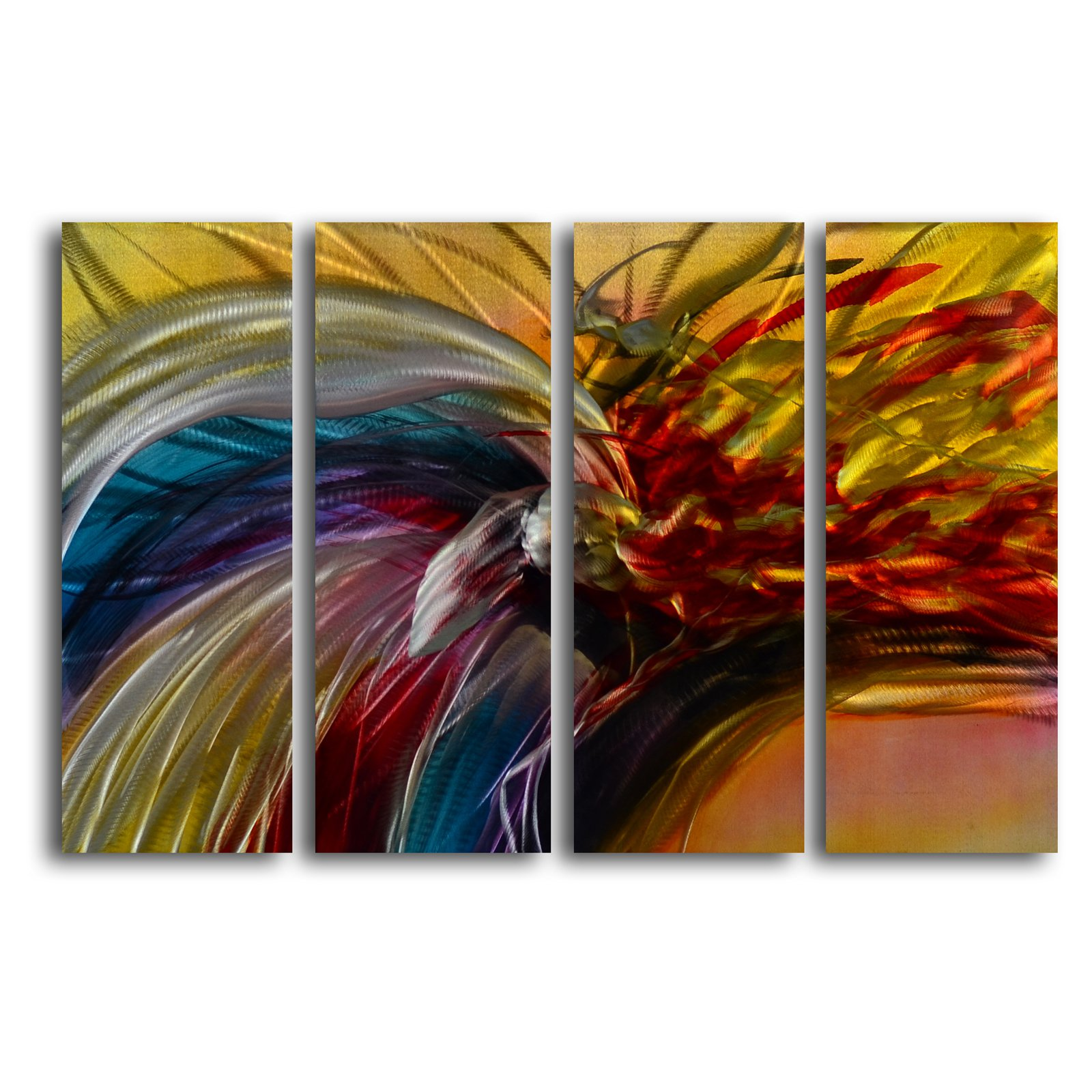 My Art Outlet 'Phoenix and the Rainbow' 4 Piece Graphic Art Plaque Set
