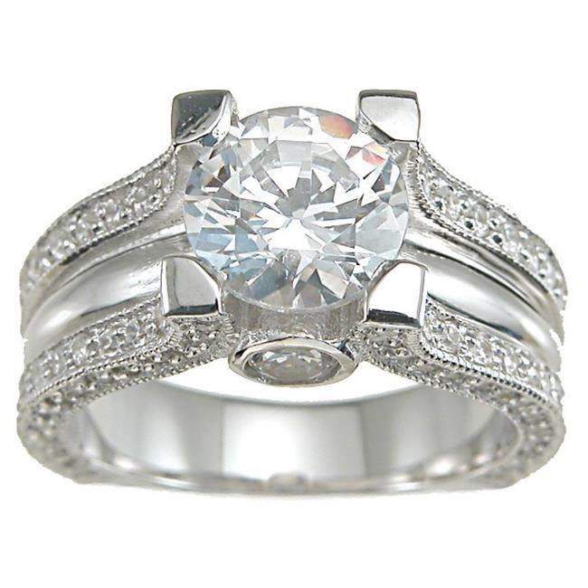 Plutus kkr6283a 925 Sterling Silver Rhodium Finish CZ Antique Style Engagement Ring Size 6