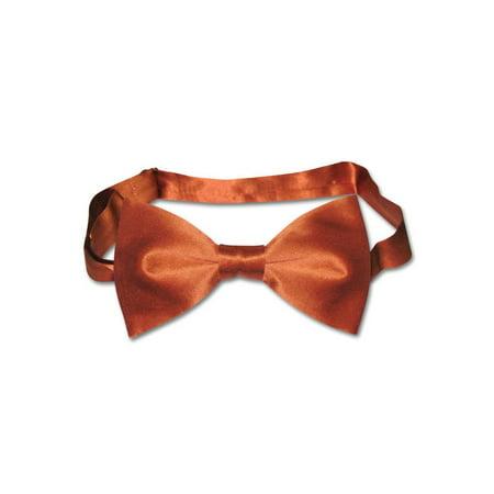 BIAGIO 100% SILK BOWTIE Solid BURNT ORANGE Color Men's Bow Tie for Tux or Suit