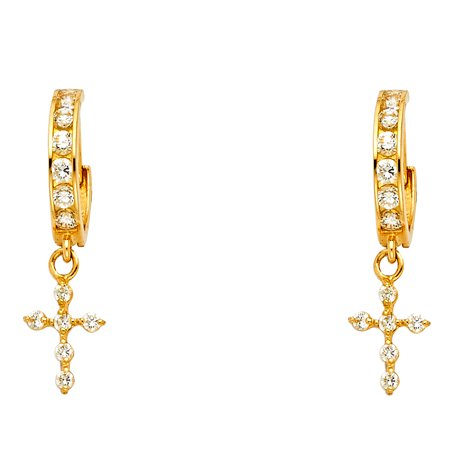 Solid 14k Yellow Gold Cross Dangle Earrings CZ Huggie Hoops Drop Style Religious Fashion Fancy 30 x 7 mm