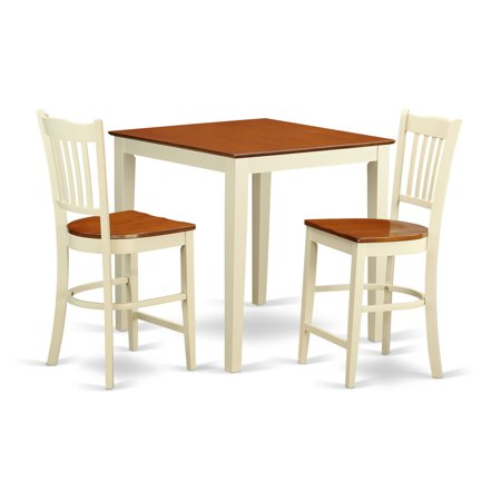 East West Furniture Vernon 3 Piece Comb Back Dining Table Set