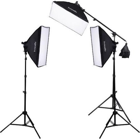 Interfit INT503 F5 Fluorescent Three-Head Light Kit with Boom Arm includes 3 F5 Fluorescent Lamp Heads, 3 Soft Boxes, 3 Light Stands, Boom & 15 INT042 Lamps