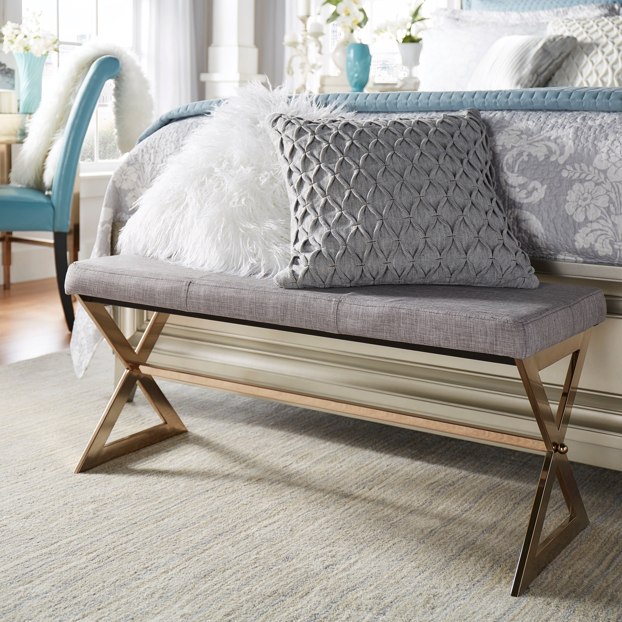 Inspire Q Southport Linen 40 Inch Chrome Finish Metal Bench By Bold