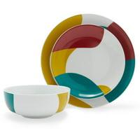 MoDRN 12 Piece Mid-Century Revival Art Deco Porcelain Dinnerware Set