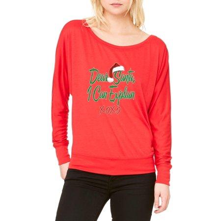 Christmas Ugly Sweater Dear Santa I Can Explain Womens Long Sleeve