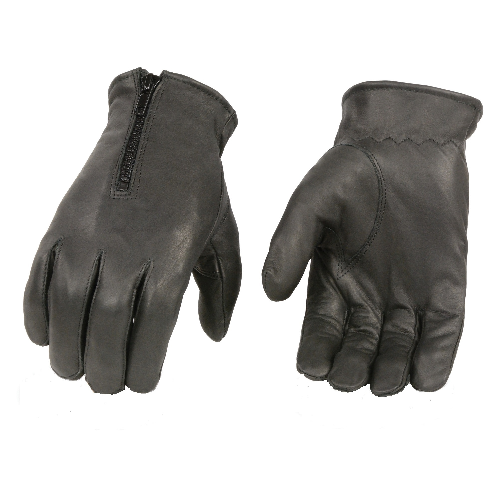 MILWAUKEE LEATHER Men's Black Premium Leather Zippered Unlined Driving Gloves