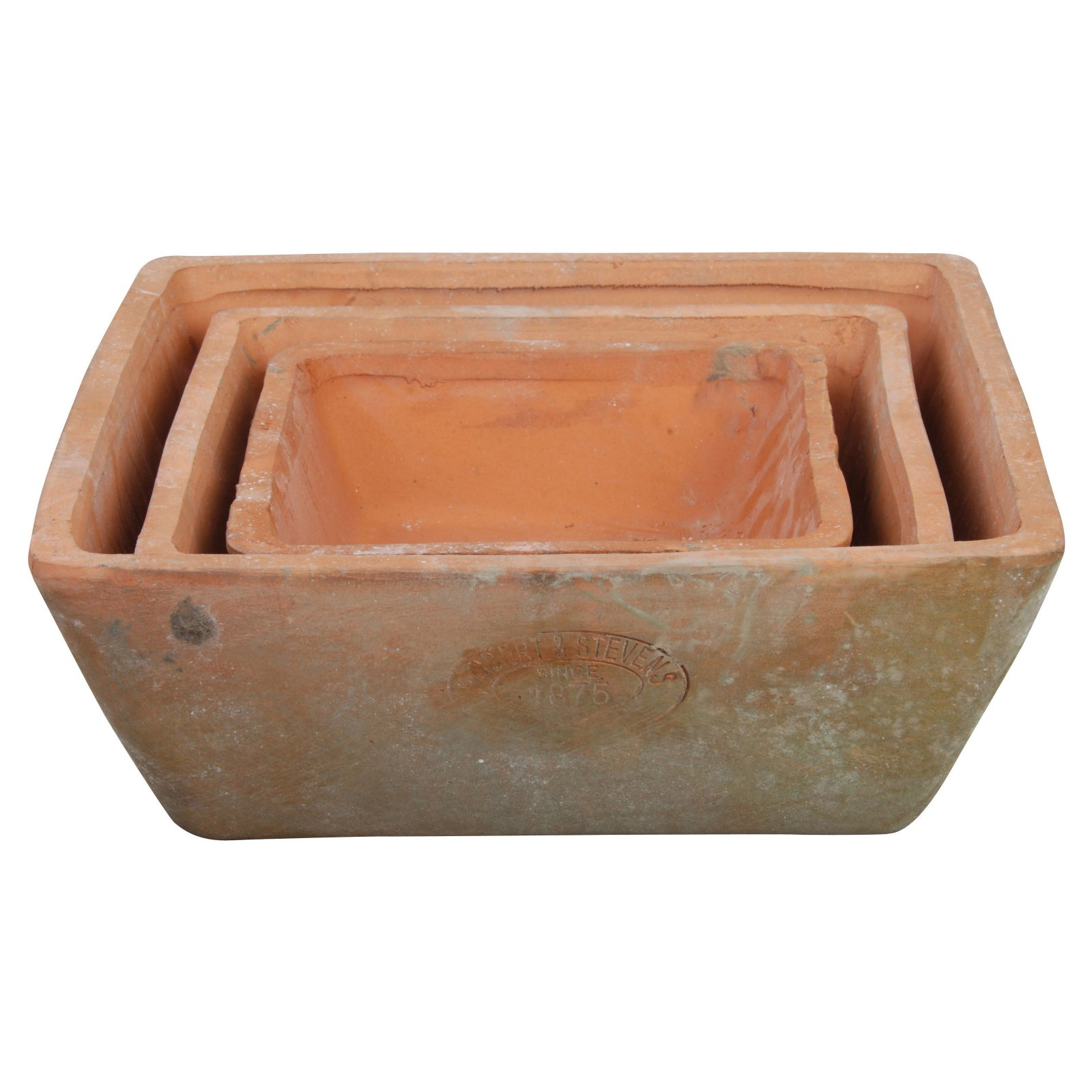 Image of Esschert Design Aged Terracotta Square Pots - Set of 3