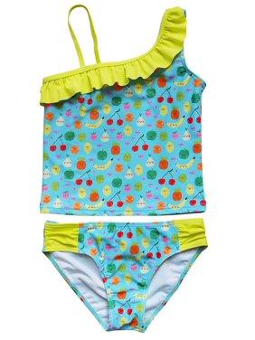 So Sydney Swim Girls' Two Piece One Shoulder Tankini Swimsuit Bathing Suit