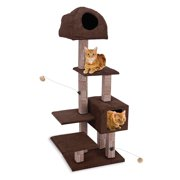 Penn Plax Dual Cat Hide-Away and Lounge Tower with Rubbing Posts