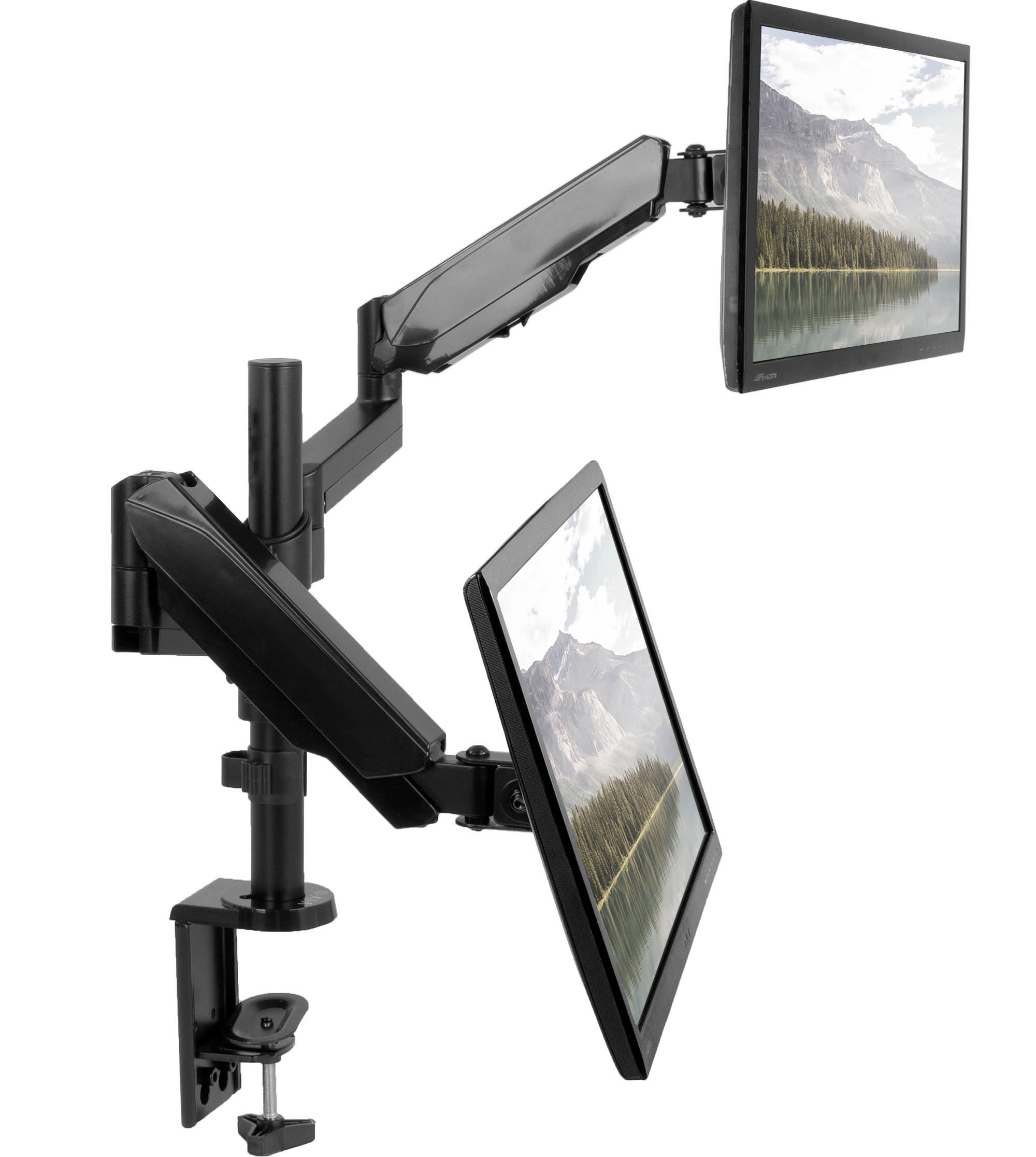 "VIVO Dual Monitor Pneumatic Spring Arm Sit-Stand Desk Mount for 2 Screens up to 32"" each (STAND-V002K)"