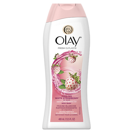 Olay Fresh Outlast Body Wash, Cooling White Strawberry & Mint 13.5 fl oz(pack of 4)