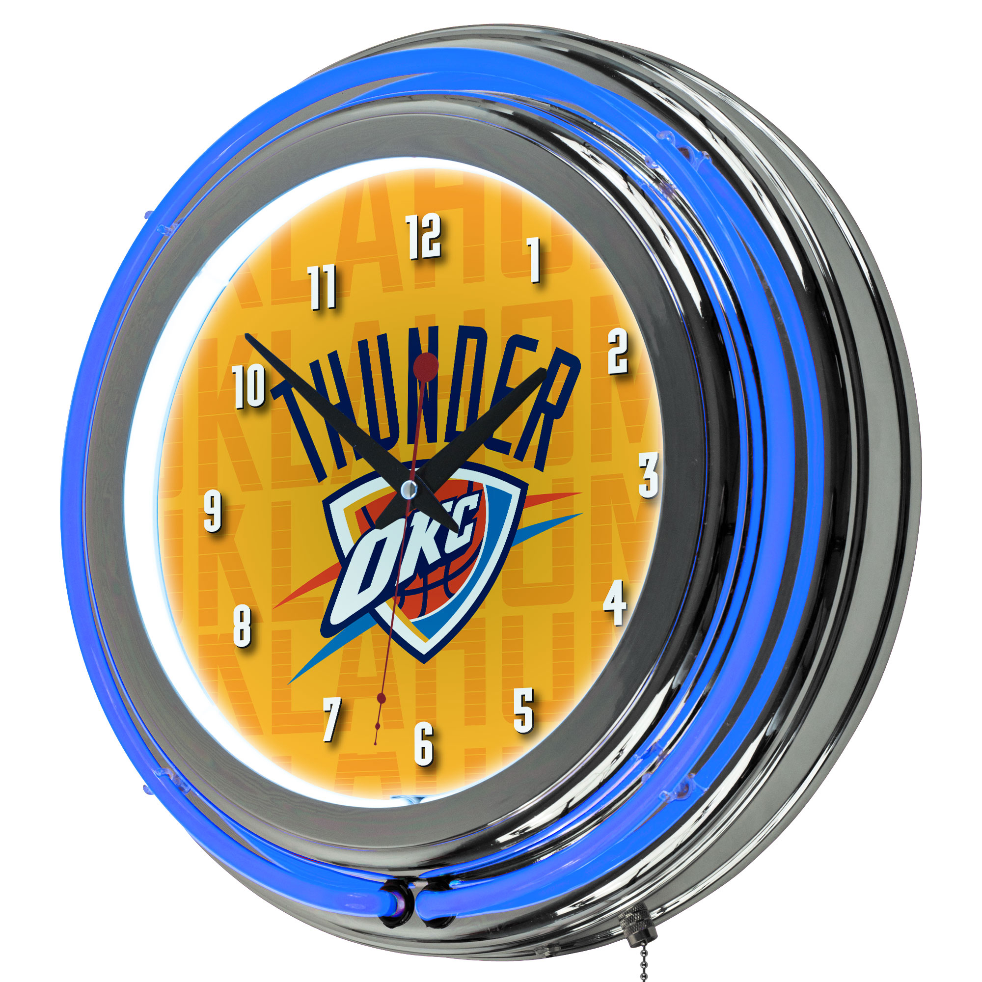 NBA Chrome Double Rung Neon Clock - City - Oklahoma City Thunder
