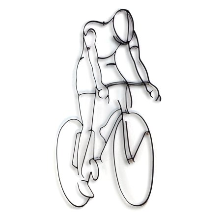 World Unique Imports Bicycle Rider Metal Wall Sculpture ()