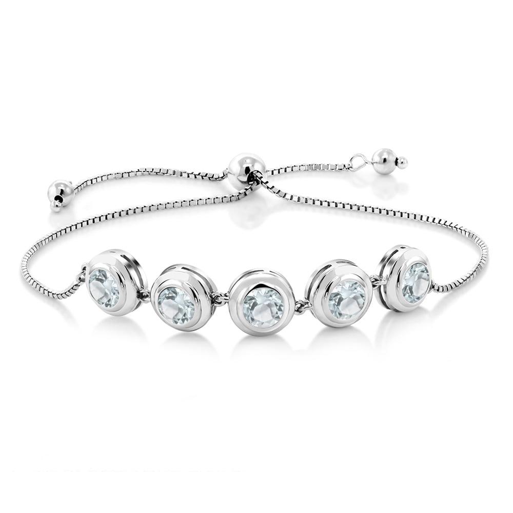3.75 Ct Round Sky Blue Aquamarine 925 Sterling Silver Bracelet by