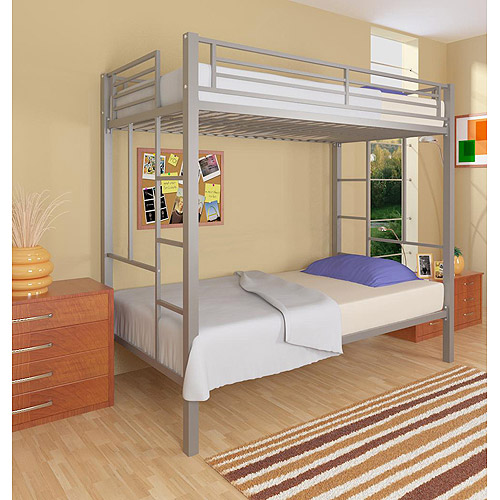 Your Zone Twin Over Twin Metal Bunk Bed, Silver