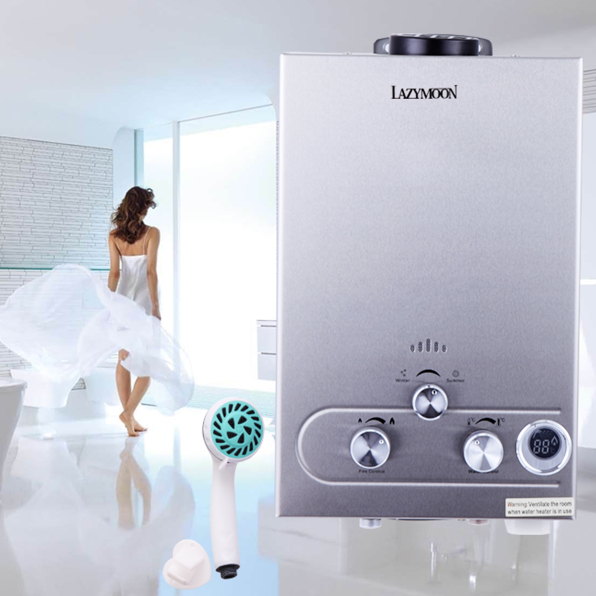 lazymoon 8l 2gpm propane lpg gas tankless water heater instant hot water boiler shower - Tankless Propane Water Heater