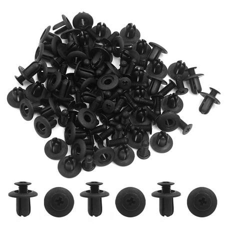 50pcs Black Vehicle Plastic Rivet Fastener Fender Bumper Push Clips Fit 8mm Hole - image 1 of 2