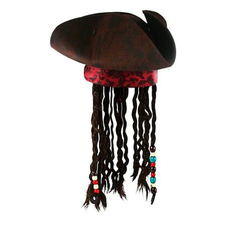 Jack Sparrow Child Pirate Hat - Jack Caribbean Sparrow Tricorn Pirate Hat Buccaneer Beads Dreadlock Hair Costume