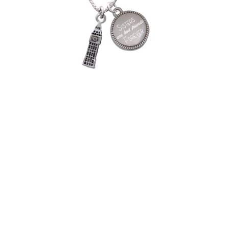London's Big Ben Clock Tower Sisters Are Best Friends Forever Engraved Necklace - Big Clock Necklace