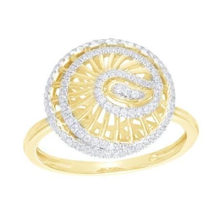 White Natural Diamond Swirl Layered Shell Ring in 10k Yellow Gold