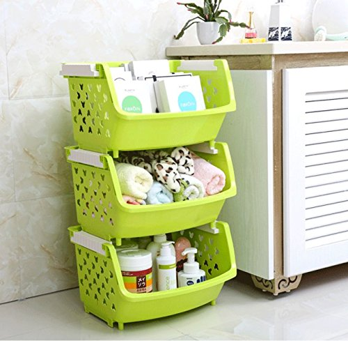 Magshion Bath Kitchen Plastic Storage Shelf Baskets Bins Tote Boxes Set Of 3 Green