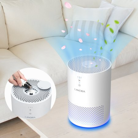 Portable Media Air Cleaner - LANGRIA Air Purifier with True Hepa Filter, Air Purifier Odor Allergies Eliminator for Home, Smokers, Smoke, Dust, Mold and Pets, Air Cleaner with Night Light