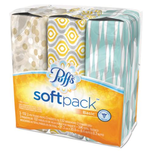 "Puffs Softpack Basic Facial Tissue - 1 Ply - 396 / Pack - 8.40"" X 8.20"" - Assorted (90428ea)"
