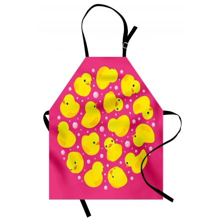 Rubber Duck Apron Fun Baby Duckies Circle Artsy Pattern Kids Bath Toys Bubbles Animal Print, Unisex Kitchen Bib Apron with Adjustable Neck for Cooking Baking Gardening, Pink and Yellow, by Ambesonne