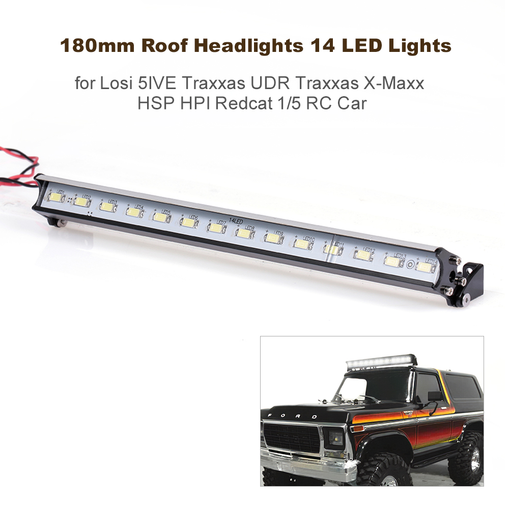 180mm Roof Headlights Rc Off Road Dome 14 Led Lights For Losi 5ive Traxxas Udr Traxxas X Maxx Hsp Hpi Redcat 1 5 Rc Car Walmart Com Walmart Com
