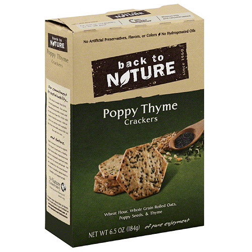 Back to Nature Poppy Thyme Crackers, 6.5 oz, (Pack of 6)