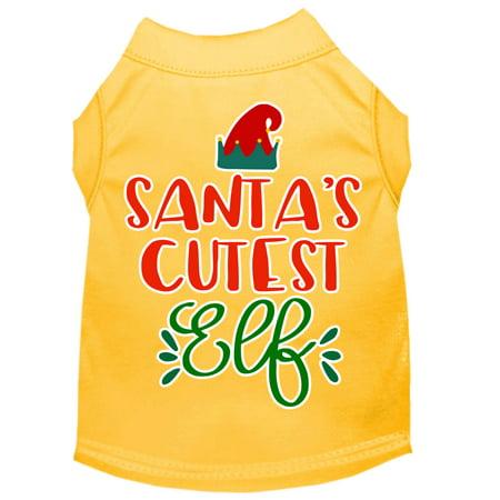 Santa's Cutest Elf Screen Print Dog Shirt Yellow